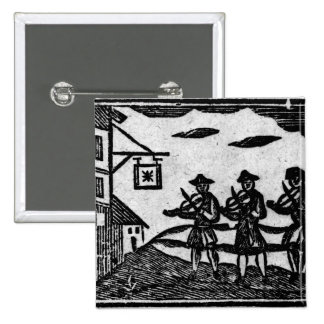 Three Fiddlers, from 'A Book Roxburghe Ballads' 2 Inch Square Button