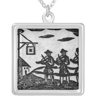 Three Fiddlers, from 'A Book Roxburghe Ballads' Square Pendant Necklace