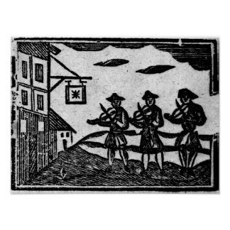 Three Fiddlers, from 'A Book Roxburghe Ballads' Poster