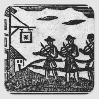 Three Fiddlers, from 'A Book Roxburghe Ballads' Square Sticker