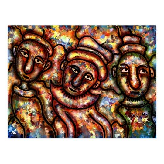 Three figures postcard