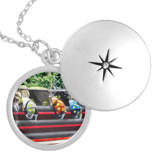 Three Fire Helmets On Fire Truck Round Locket Necklace