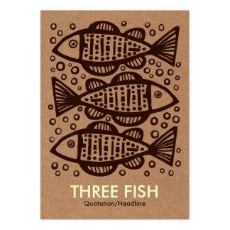 Three Fish - Cardboard Box Tex Large Business Card