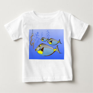 Three fish, hook and worm baby T-Shirt