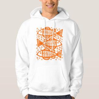 Three Fish -Orange Hoodie