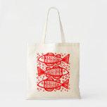 Three Fish - Red Canvas Bag