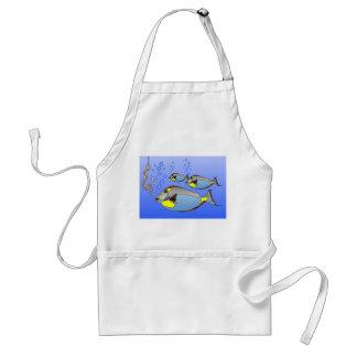 three fish. worm and fish hook adult apron
