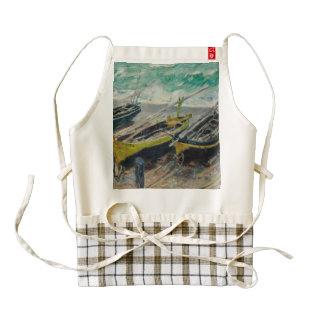 Three Fishing Boats by Claude Monet Zazzle HEART Apron