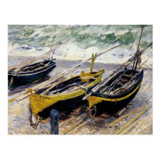 Three Fishing Boats by Monet Postcard