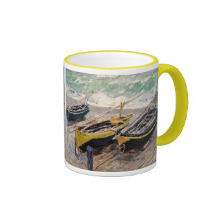 Three Fishing Boats - Claude Monet Ringer Coffee Mug