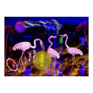 Three flamingo swans party in the night print