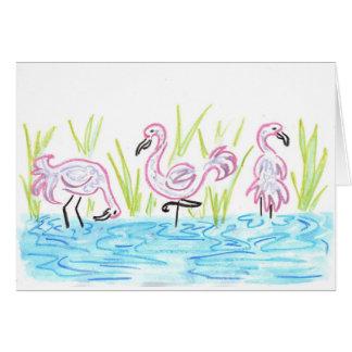 Three Flamingos Card