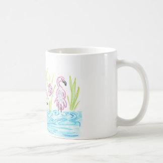 Three Flamingos Classic White Coffee Mug