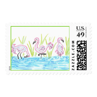 Three Flamingos Postage