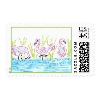 Three Flamingos Postage Stamps