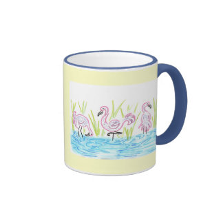Three Flamingos Ringer Mug