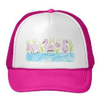 Three Flamingos Trucker Hat