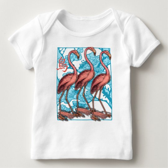 Three Flamingos with Flowers Baby T-Shirt