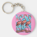 Three Flamingos with Flowers Keychains