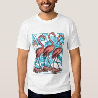 Three Flamingos with Flowers Tee Shirt