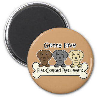 Three Flat-Coated Retrievers Magnet