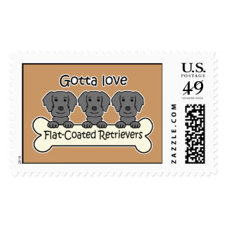 Three Flat-Coated Retrievers Postage