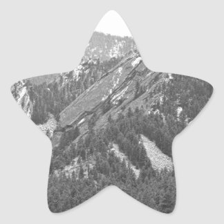 Three Flatirons Boulder Colorado Black and White Star Sticker