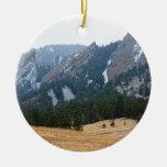 Three Flatirons Boulder Colorado Winter View Double-Sided Ceramic Round Christmas Ornament