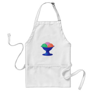 Three flavors of Ice cream  blue metal bowl apron