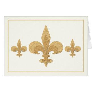 Three Fleur-de-Lis on Light Cream Color Note Card