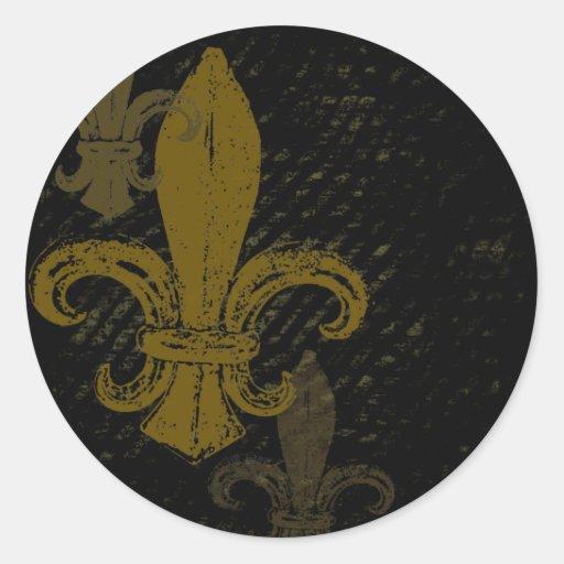 Three Fleur De Lis Round Sticker