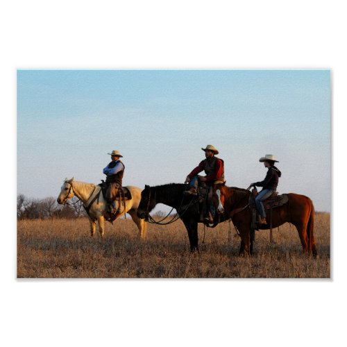 Three Flint Hills Cowboys Poster