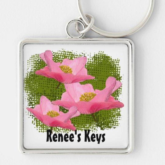 Three Floating Pink Poppy Close-up Keychain