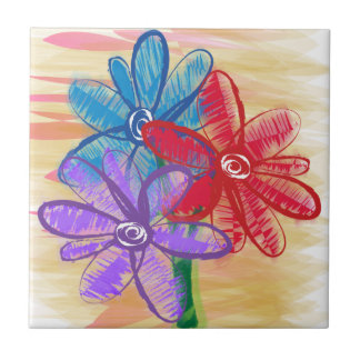 Three Flower Doodle Small Square Tile