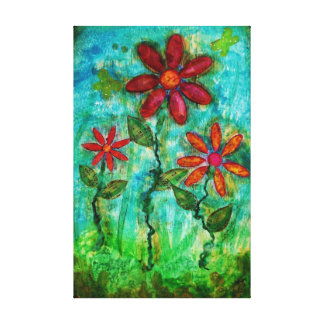 Three Flowers by Heather Saulsbury Mixed Media Art Stretched Canvas Prints