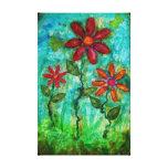 Three Flowers by Heather Saulsbury Mixed Media Art Canvas Print