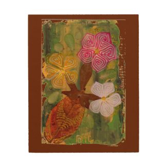 Three Flowers In Vase fine art wood wall art