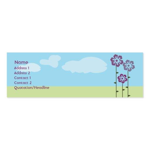 Three Flowers Skinny Mini Business Card