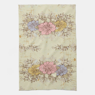 Three Flowers, Vintage Country Floral Hand Towels