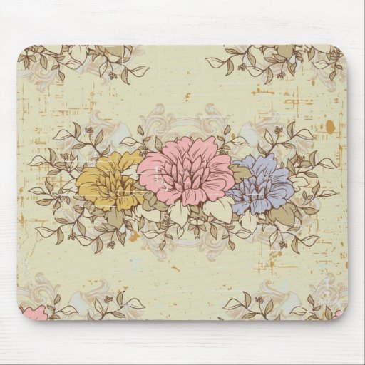 Three Flowers, Vintage Country Floral Mouse Pad