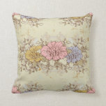Three Flowers, Vintage Country Floral Throw Pillow