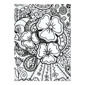 Three Flowers Zendoodle 062514, Coloring Page Custom Announcement