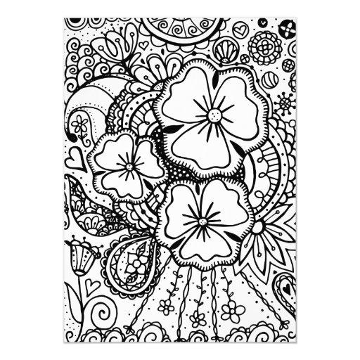 Three Flowers Zendoodle 062514 Coloring Page 5 X 7