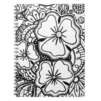 Three Flowers Zendoodle 062514, Notebook