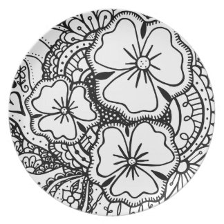 Three Flowers Zendoodle 062514, Plate