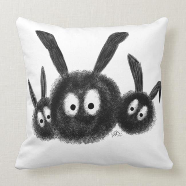 Three Fluffy Dust Bunnies, Digitally Drawn Cartoon Pillows