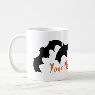 Three Flying Bats Orange Eyes Add Your Message Coffee Mugs