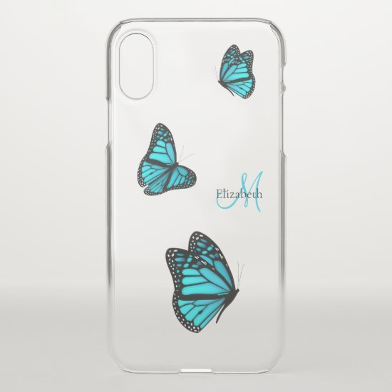 three flying butterflies turquoise blue iPhone XS case
