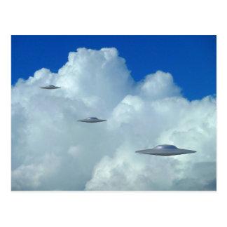 Three Flying Saucers Postcard