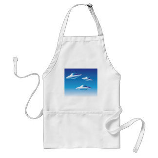 Three Flying Unidentified Objects in the sky Adult Apron